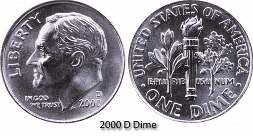 2000-D ROOSEVELT DIME (STOCK PHOTO) IN MINT CELLO  A-13-21