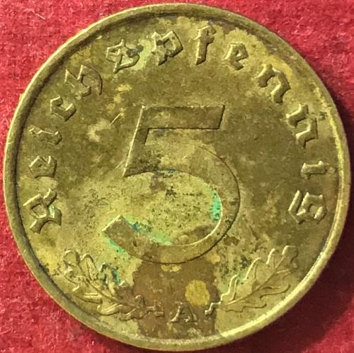 German Third Reich - 1938 A (A - Berlin mint) - 5 Reichspfennig