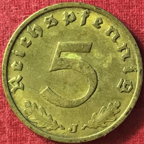 German Third Reich - 1937 J (J - Hamburg mint) - 5 Reichspfennig [#2]
