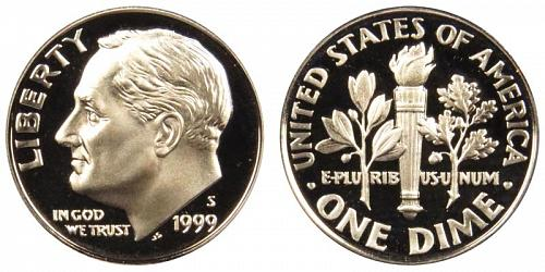 1999-S ROOSEVELT CLAD DIME FROM PROOF SET (STOCK PHOTO) A-14-21