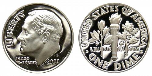 2000-S ROOSEVELT CLAD DIME FROM PROOF SET (STOCK PHOTO)  A-14-21