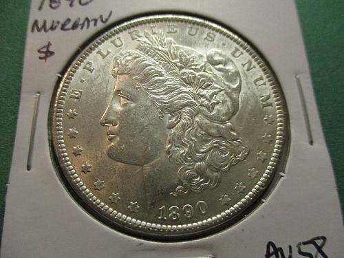 1890  AU58 Morgan Dollar.  Item: DM 90-12.
