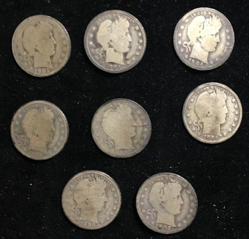 8 Barber Quarters (silver) all different dates, stored since before WW2