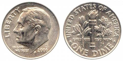 2007-D ROOSEVELT DIME FROM MINT SET (STOCK PHOTO)  A-15-21
