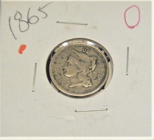 1865  3 Cent Nickel  First Year Of This Coin