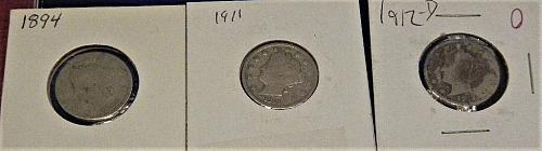 3 Liberty V Nickels  94 - 11 - 12-d