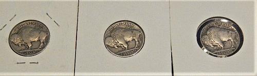 3 Buffalo Nickels 1916-P   27-D   37-P
