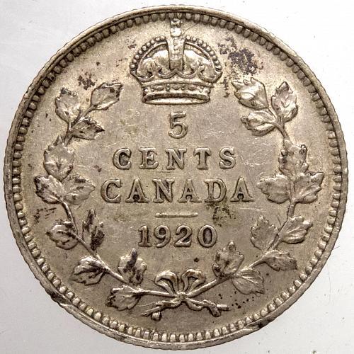 1920  Canada 5 Cents #2  .925 Silver