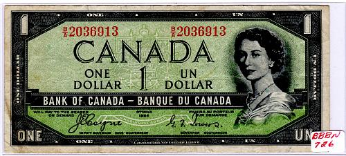 "1954 CANADA $1.00  ""DEVIL'S FACE"" PORTRAIT BANKNOTE"