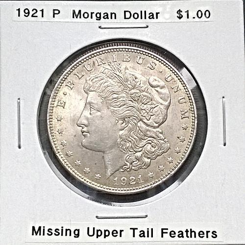 1921 P Morgan Dollar - VAM - Missing Upper Tail Feathers - 6 Photos!