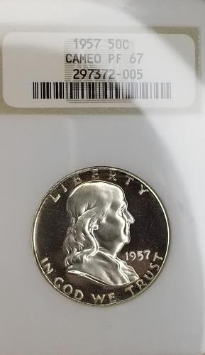 1957 Franklin Half Dollar CAMEO PR67CAM **STUNNING**