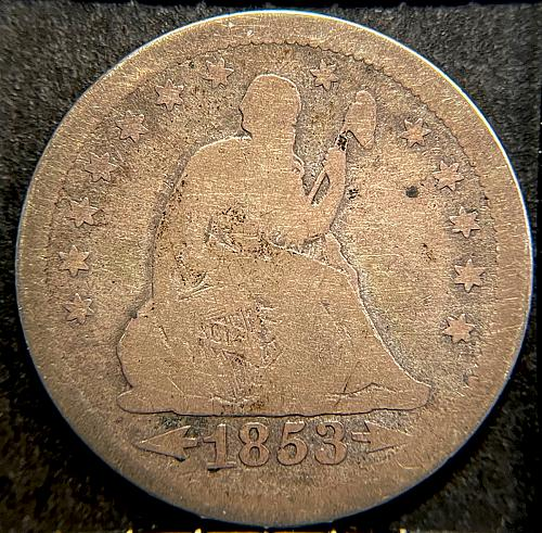1853 Seated Liberty Quarters Type 2 - Arrows at Date - Rays Around Eagle V2P12R3