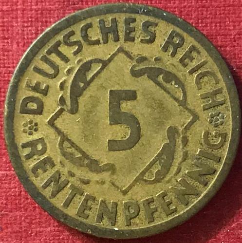 German Weimar Republic - 1924 F (F - Stuttgart mint) - 5 RENTEN Pfennig [#1]