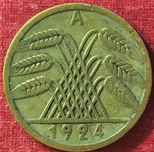 German Weimar Republic - 1924 A (A - Berlin mint) - 5 RENTEN Pfennig [#2]