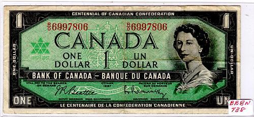 "1967 CANADA $1.00 ""CENTENNIAL OF CONFEDERATION""  BANKNOTE"