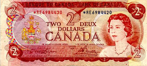 1974 CANADA $2.00 **REPLACEMENT** BANKNOTE