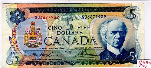 1972 CANADA $5.00 BANKNOTE