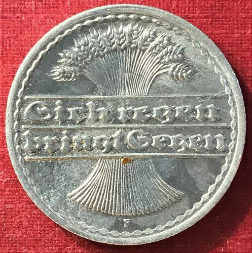 German Weimar Republic - 1921 F (F - Stuttgart mint) - 50 Pfennig [#3]
