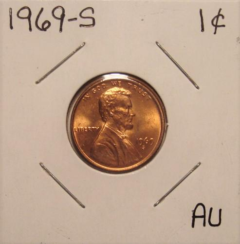 1969 S Lincoln Memorial Cent Small Cent AU