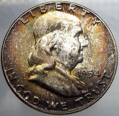 1954 P Franklin Half Dollar#7 MONSTER TONED OBVERSE