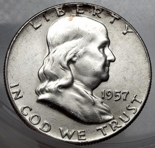 1957 P Franklin Half Dollar#7 Excellent Luster and Much Brighter than pictured.