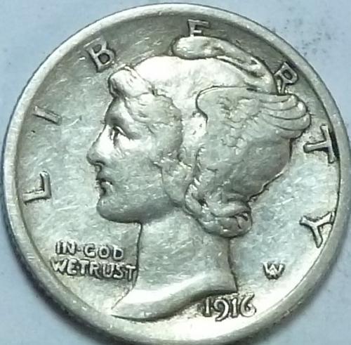 1916-P Extra Fine Mercury Dime   ( N-100)