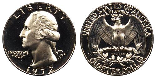 1972-S WASHINGTON QUARTER (STOCK PHOTO) FROM PROOF SET A-20-21