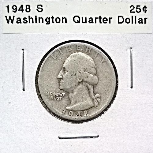 1948 S Washington Quarter Dollar - 4 Photos!