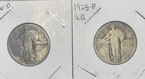 Standing Liberty 90% Silver Quarter Lot (4) - FV$1.00 Circulated 1925&26 1929S &