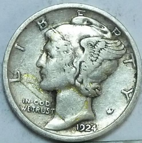 1924-P Extra Fine Mercury Dime   ( N-118)