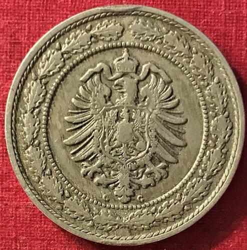 German Empire - 1888 G (G - Karlsruhe mint) 20 Pfennig [mintage - 611,000]