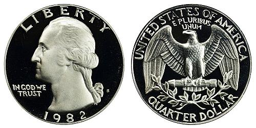 1982-S WASHINGTON QUARTER FROM PROOF SET IN FLIP (STOCK PHOTO)  A-22-21