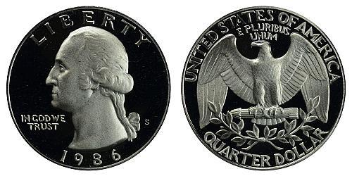 1986-S WASHINGTON QUARTER (STOCK PHOTO) FROM PROOF SET  A-22-21