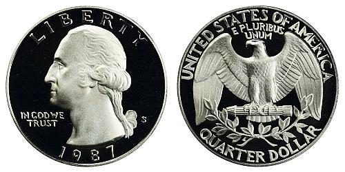 1987-S WASHINGTON QUARTER (STOCK PHOTO) FROM PROOF SET  A-22-21