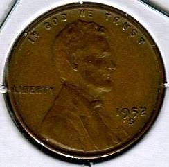 1952 - S  LINCOLN  CENT    FINE