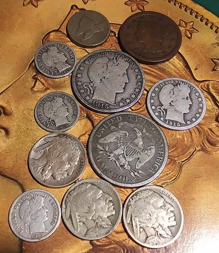 1876 Seated Liberty Half Dollar, 1915D Barber Half Dollar and 9 more U.S. Coins