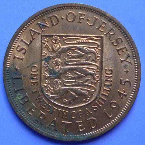 Great Britain Island of Jersey 1/12 Shilling 1945 KGVI Liberation km 19