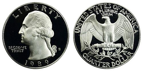 1989-S WASHINGTON QUARTER (STOCK PHOTO) FROM PROOF SET IN FLIP  A-23-21