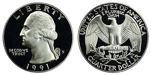1991-S WASHINGTON QUARTER (STOCK PHOTO) FROM PROOF SET IN FLIP  A-23-21