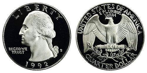 1992-S WASHINGTON QUARTER (STOCK PHOTO) FROM PROOF SET IN FLIP  A-23-21