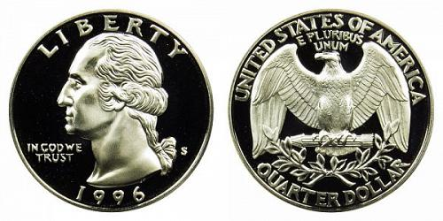 1996-S WASHINGTON QUARTER (STOCK PHOTO) FROM PROOF SET  A-23-21