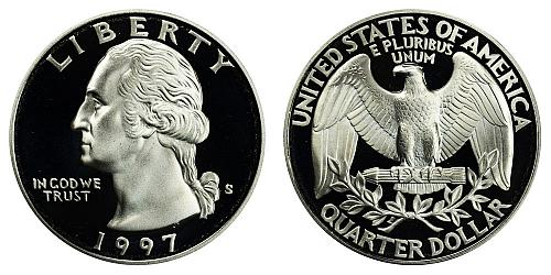 1997-S WASHINGTON QUARTER (STOCK PHOTO) FROM PROOF SET  A-23-21