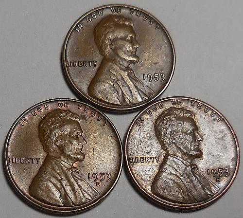 3 Lincoln Wheat Cents 1953-P 1953-D 1053-S