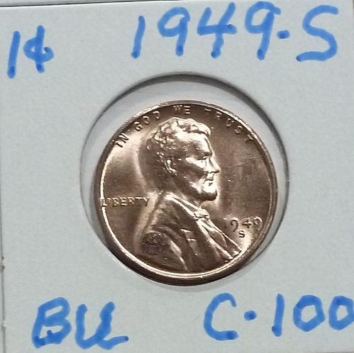 1949-S Gem BU RED Lincoln Wheat Cent (C-100 )