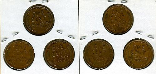 """3 -  LINCOLN CENTS   1933,34 & 35  """"P""""   EXTRA FINE - BROWN"""