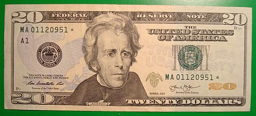 """2013 $20 Federal Reserve Note """"Green Seal"""" STAR NOTE"""