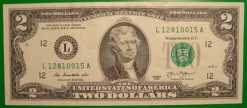 "2013 $2 Federal Reserve Note ""Green Seal"""