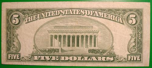 """1950 $5 Federal Reserve Note  """"Green Seal"""""""