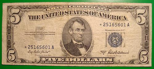 "1953A $5 Silver Certificate  ""Blue Seal"" STAR NOTE"