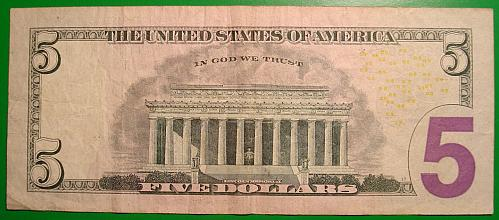 """2009 $5 Federal Reserve Note  """"Green Seal"""" STAR NOTE"""